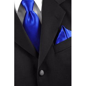 Kit 8 Gravata Azul Royal Lisa - Com Ziper