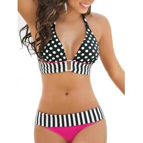 Sexy Bikini Traje De Baño Halter Correa Conjunto Estampado
