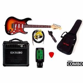 Kit Guitarra Memphis Mg-32 Sb + Cubo Meteoro + 5 Acessórios
