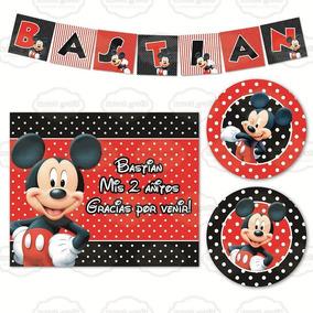 Kit Imprimible Mickey Mouse Candy Bar Cumpleaños Invitación
