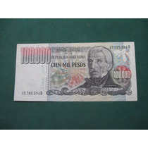 Billete Argentina 100000 Cien Mil Pesos Ley 18188 # 2503