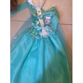 Disfraz De Elsa De Frozen Con Peluca De Nieve Y Capa D Hielo
