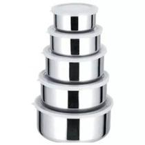 Kit Conjunto De Potes E Tigelas Inox Com Tampas 5 Peças