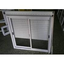 Ventana Aluminio Blanca 120*110 Con Vidrio, Guía Y Persiana