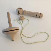 Trompo Infantil De Madera Con Lanzador Y Punta Metalica