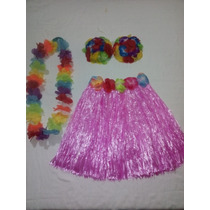 Disfraz Niña Hawaiana Falda +coquitos +collar 33-42cm