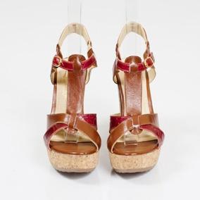 Sandalia Bottier Mujer Cuero Rojo Mod. Pt Forrado En Corcho
