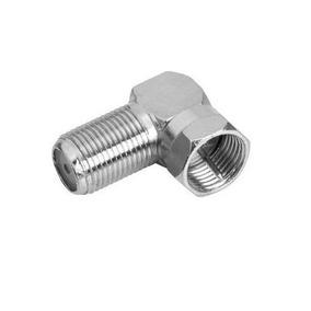 Adaptador Coaxial Plug F Fêmea X Plug F Macho Rosca 90 Graus