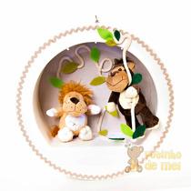 Nicho/ Porta Maternidade 3 Leds C/ Nome Bebê Floresta Bichos