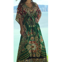 Vestido Longo Tipo Kaftan Indiano Com Strass Indian House