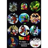 11 Pines Prendedores + 1 Llavero Dragon Ball Z Manga Anime
