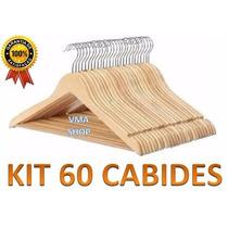 Kit Com 60 Cabides De Madeira. Importado - Melhor Preço!!!