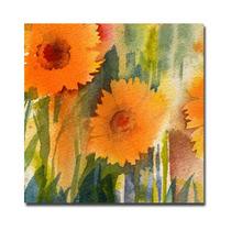 Orange Wild Flowers Canvas Art By Sheila Golden