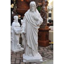 Imagem Sagrado Coração De Jesus 120 Cm Pó De Mármore Iml032