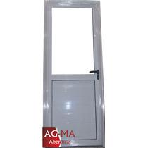 Puertas Aluminio Blanco Medio Vidrio Entero 80 X 2