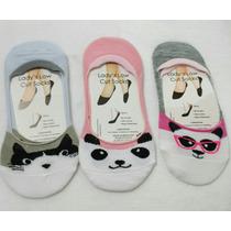 6 Pares Calcetas Protector Mujer Niña Panda Gato Con Silicon