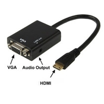 Convertidor Hdmi A Vga Audio Video Adaptador Laptop Tv Celul