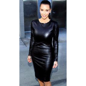 Vestido Negro Imitación Piel Wet Look Vinyl Talla Chica Sexy