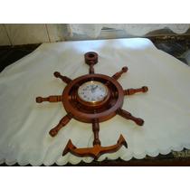 Reloj Timon En Madera Cedro Artesanal Con Ancla Barnizado