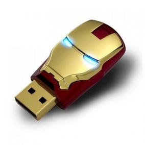 Pen Drive 8gb - Homem De Ferro - Iron Man - Acende Os Olhos!