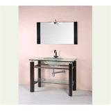 Mueble Para Baño Con Espejo, Madera Y Vidrio Mesada Y Pileta