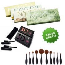 Kit Sombras Para Ojos Naked 1 2 3 Smoky + 10 Brochas Oval+3d