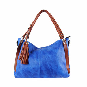 Bolsa Saco Feminina Importada Imitar Jeans Mc Borboleta Azul