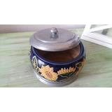 Caramelera Adorno En Peltre Y Ceramica