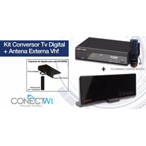 Kit Conversor Tv Digital Gravador Hdmi + Antena Externa Hdtv
