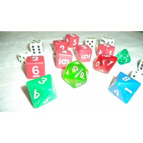 17 Dados Jogos Rpg Magic Triang. Cúbico Poligonal Cúbico...