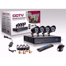 Kit Seguridad 4 Camaras Exterior 700 Tvl + Dvr 4 Ch + Cables