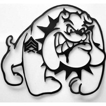Figuras Bulldog En Metal Calado Siloueta