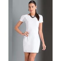 Vestido Curto Manga Curta Cotton Pregas Azul Branco Amélia