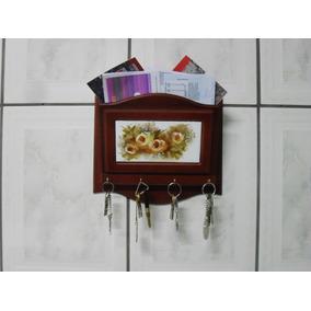 Porta Chaves E Cartas Em Mdf Com Azulejo Decorado A Mão