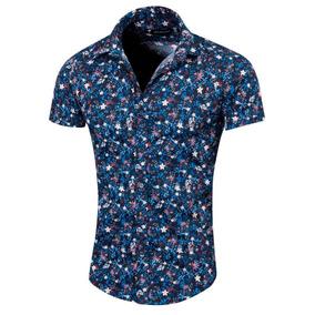 Camisa Floripa Estampada Slim Fit Manga Corta, Valkymia