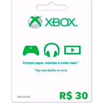 Cartão Microsoft Points Xbox Live Brasil De R$ 30 Imediato