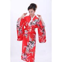 Robe Roupão Quimono Japonês Yukata Cetim Geisha