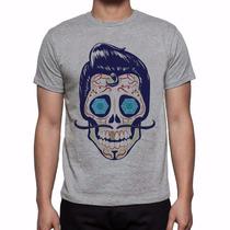 Camiseta Cinza Mescla Caveira Mexicana Moustache Bigode 339