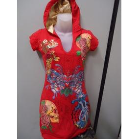 Vestido Ed Hardy - Vermelho Com Capuz - Original