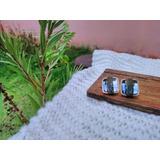 Brinco Pequeno Quadrado Pedra Azul Espelhada Quadriculada