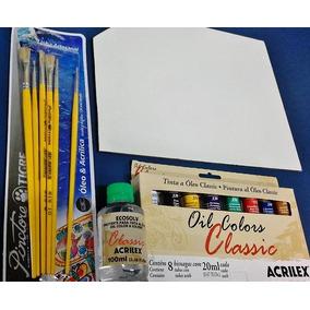 Kit De Pintura Em Tela; 1-palheta+8-tintas+6-piceis+diluente