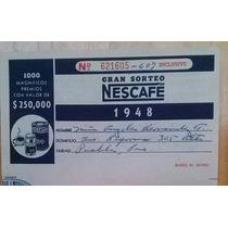 Boleto Billete Lotería Sorteo Rifa Nescafé Café México 1948
