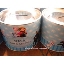 Souvenir Frozen Luna Alcancias Con Tapa Desmontable De Lata