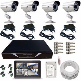 Kit Sistema Vigilância Residencial 4 Câmeras Dvr Monitor 7