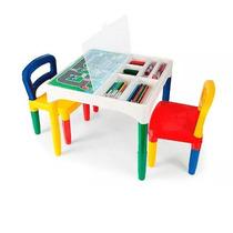 Mesa Didática Mesinha Infantil Poliplac 2 Cadeiras 6 Adesivo