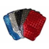 Jogo Tapete Aluminio Cromado Azul Vermelho Carbon Tuning 4pç