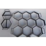 Kit Forma 9 Bloquetes ,paver Sextavados E 4 Meios 25x6 Cms