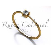 Anel Solitário Diamante 15 Pontos Ouro 18k-750 Noivado