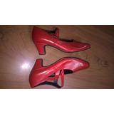 Zapato De Danza Española Nuevo Rojo Cuero