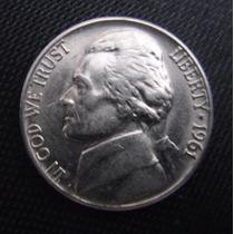 Moeda Coin Usa Five Cents 1961 (mbc) - Frete Grátis